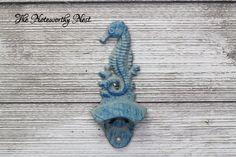 Cast Iron bottle opener // Nautical bottle opener // wall mounted bottle opener // metal bottle opener // Kitchen Decor // Seahorse // Beach by TheNoteworthyNest on Etsy