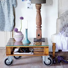 pallets + casters = brilliant thrifty smart
