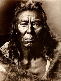 Arikara Chief photo by Edward S. Curtis. (Antique photo of Native American)