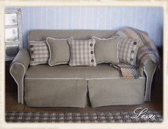 Shabby chic loose cover sofa