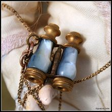 Antique French Bebe Fine Blue Mother of Pearl Opera Glasses