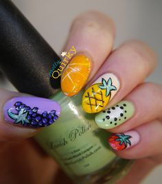 Feeling fruity?  Fruit themed nail art with obligatory pineapple. Because sometimes only silly nails will do