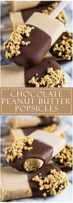 Chocolate Peanut Butter Yoghurt Popsicles