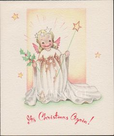 Vintage Christmas Angel Greeting Card Circa 1940s by Grinnell. Offered by 2kVintageShop on Etsy