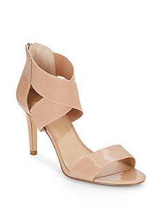 Saks Fifth Avenue Deidra Patent Leather Sandals - Black - Size 10