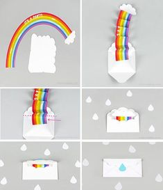 Rainbow Art Event – Vorschulbibliothek – Madamtea … – besonderes Geschenk … Rainbow Art Event – Preschool Library – Madamtea … – special gifts to make mini school bags Fun Crafts, Diy And Crafts, Crafts For Kids, Kids Diy, Decor Crafts, Birthday Diy, Birthday Cards, Diy Birthday Invitations, Rainbow Invitations