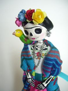 Frida Kahlo Paper Mache Catrina. Day of the Dead/Dia de los Muertos.