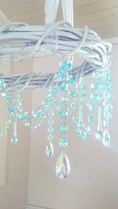 Chandelier White Aqua Grapevine Budoir Bedroom Cottage Style Farmhouse Chandelier Crystals Romantic Home Shabby Chic on Etsy, $85.00