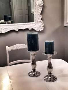 Dining Table is decorated with candle holders from Homesense and candles from Michaels…