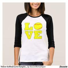 Yellow Softball Love Fastpitch Softball 3/4 Sleeve Shirt! #softball #fastpitch #love