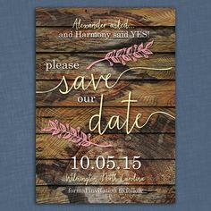 Rustic Branches Save the Date Card  by LittleBeesGraphics on Etsy, $12.99