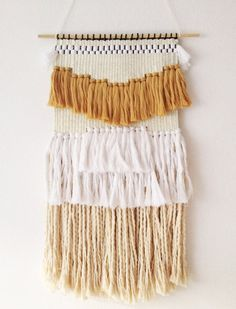 Weaving wall hanging white gold no 3 / hand woven tapestry wall hanging textile…