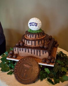 College Golf Inspired Groom's Cake- sub in LSU and a football...