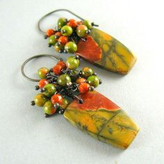 Picasso Jasper Rustic Cluster Earrings Autumn by SurfAndSand, $65.00