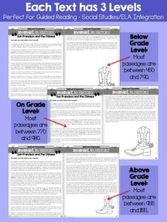 EASY: Integrate Social Studies with ELA! 15 nonfiction leveled texts total (5 texts on three levels – below grade level, on grade level, and above grade level) related to Westward Expansion. Each passage includes Common Core comprehension printables. Included Westward Expansion Texts: *Homestead Act *A primary source of a pioneer seeking further information on the Homestead Act *Transcontinental railroad *San Francisco and the Chinese workers *African American pioneer cowboy