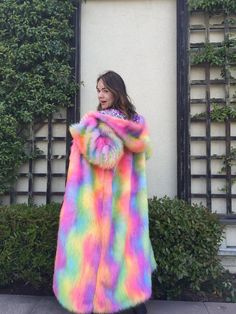 MADE TO ORDER Rainbow faux fur coat. Original by SHUBAcouture Dear universe...please bless me w this ❤