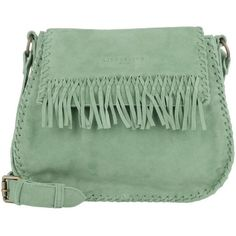 Liebeskind Shoulder Bags, Edda Laced Suede Crossbody Pistazie Handbag ($190) ❤ liked on Polyvore featuring bags, handbags, shoulder bags, green, crossbody handbags, fringe crossbody, crossbody shoulder bags, man bag and handbags shoulder bags