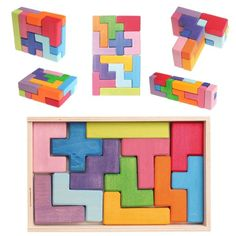 Grimm's Pentomino Game - 12 Piece Wooden 3-D Puzzle in Storage Box