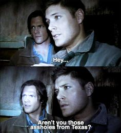 """Jensen Ackles as Dean Winchester and Jared Padalecki as Sam Winchester - Supernatural  - 3x13 - """"Ghostfacers"""""""