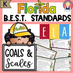 Florida's B.E.S.T. Standards - ELA GOALS and SCALES for Kindergarten⭐ All the ELA standards are included.⭐ There is a poster for each standard. ⭐ The posters are illustrated to promote comprehension and student engagement. ⭐ Each strand is color coded: Foundational Skills, Reading {Reading Prose and... School Resources, Learning Resources, Teacher Resources, Dok Levels, Student Engagement, Educational Activities, Anchor Charts, Comprehension, Small Groups