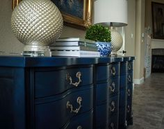 Black Wax over Napoleonic Blue, Annie Sloan beautiful products.