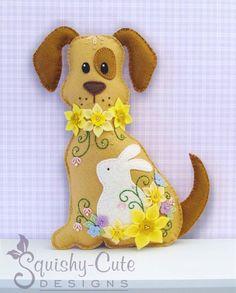 Perro peluche Animal patrón - patrón de coser fieltro peluche y Tutorial - narciso el perro de Pascua - patrón del bordado PDF por SquishyCuteDesigns