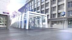 Public transport exterior. Visualization of a futuristic subway in Vienna.