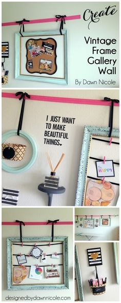 DIY Vintage Frame Gallery Wall from By Dawn Nicole. Old frames are inexpensive and so easy to find at consignment and antique shops!