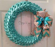 18 petal bubble burlap wreath tiffany blue by OOPSYDAISYDESIGNS, $73.00