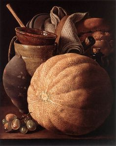 MELÉNDEZ, Luis  Spanish painter (b. 1716, Napoli, d. 1780, Madrid)  Still-Life with Cantaloup Melonc. 1765Oil on canvas, 50 x 38cmMuseo Nacional de Escultura, Valladolid