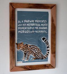 Langschwanzkatze Cat Siebdruck Poster  von corvidopolis auf Etsy