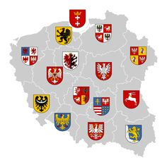 Yet another map of my alternate Polish borders shape with Vivodeships' CoAs. Poland Voivodeships Coat of Arms Medieval Symbols, Poland Map, Polish Words, Poland History, Polish Christmas, Arte Popular, Coat Of Arms, Banner, Geography