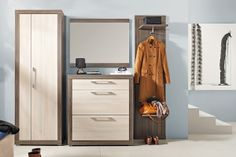 DECEMBER BRW Hallway furniture set. December BRW furniture includes modern and modular entrance hall designs from one of the best European manufacturers. It consists of 2-door tall cabinet, shoe cabinet, mirror and coat stand in coimbra dark ash / acacia colour. December BRW allows to make practical and elegant entrance halls. Polish BRW Modern Furniture Store in London, United Kingdom #furniture #polish #brw #hallway #entrancehalls