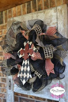 Black Deco Mesh Wreath with Rustic Cross and by FosterCreativity