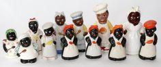 BLACK AMERICANA HAND PAINTED SALT & PEPPER SHAKERS