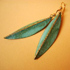 Folded leaf earrings fold formed/ hammered brass with by SeeGreen, $52.00