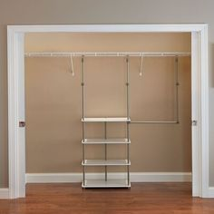 Beautiful 53 W Closet System by ClosetMaid storage-sale from top store Closet Rod, Closet Storage, Locker Storage, Storage Organization, Hanging Closet Shelves, Closet Racks, Apartment Closet Organization, Tiny Closet, Attic Storage