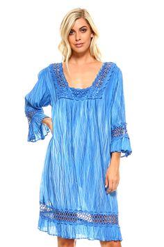 Women's 3/4 Three Quarter Sleeved Crochet Tunic Dress