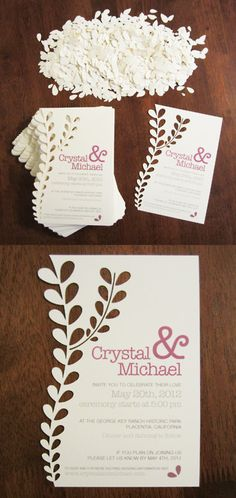 Cut paper invites...love this, but more like a lace design