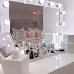 Dressing room goals from featuring our audrey hollywood mirror. Makeup mirror with lights dressing table mirror with lights vanity mirror with lights illuminated makeup mirror light up makeup mirror hollywood mirrors Lights Around Mirror, Makeup Mirror With Lights, Make Up Lighting Mirror, Hollywood Mirror With Lights, Hollywood Vanity Mirror, Lighted Vanity Mirror, Mirror Vanity, Dressing Room Design, Dorms Decor