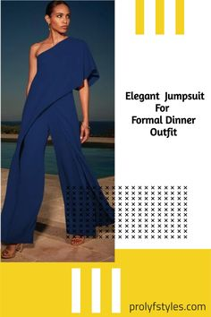 The elegant yet trendy Elegant One Shoulder Jumpsuit is sure to take your evening style to a whole new level. This cute jumpsuit will look great on you, whether you are going out for a lovely dinner date or having fun with friends. Dress this stylish jumpsuit up or down for any occasion. This one shoulder jumpsuit is perfect for formal wear or as a cute casual outfit. This style would look wonderful paired with strappy heels and a matching clutch! Jumpsuits For Women Formal, Formal Wear Women, Dinner Date Outfits, First Date Outfits, Spring Outfits Women Casual, Dressy Casual Outfits, Jumpsuit Dressy, One Shoulder Jumpsuit, Strappy Heels