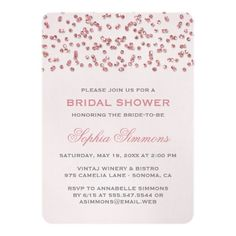 "Pink Glitter Look Confetti Bridal Shower Invite 5"" X 7"" Invitation Card"
