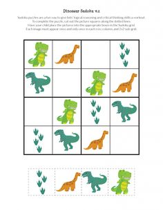 Dinosaur Sudoku Puzzles free printables - Gift of Curiosity, Free, kid-friendly dinosaur sudoku puzzles that use smaller grids and dinosaur images instead of numbers. Perfect for dinosaur lovers ages 2 to Dinosaur Theme Preschool, Dinosaur Printables, Dinosaur Activities, Dinosaur Crafts, Preschool Learning Activities, Preschool Worksheets, Toddler Activities, Preschool Activities, Free Printables