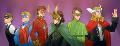 Masquerade. The only problem I have with this is that Steve should be taller than Tony. Otherwise, awesome costumes. I love that Loki's mask is so elaborate. The diva