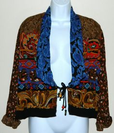 CAROLE LITTLE 6 6P German Rayon Blouse Tie Front Hanging Bead Jacket Top 3/4 Slv