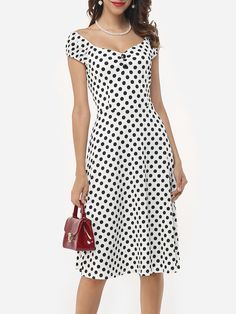 Assorted Colors Polka Dot Printed Zips Sensual Fabulous V Neck Skater-dress