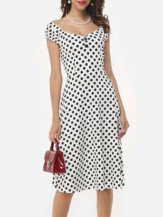 #AdoreWe #FashionMia Skater Dresses - FashionMia Assorted Colors Polka Dot Printed Zips Sensual Fabulous V Neck Skater-dress - AdoreWe.com