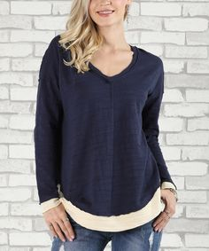 Take a look at this Navy & Cream Contrast V-Neck Tunic - Plus Too today!