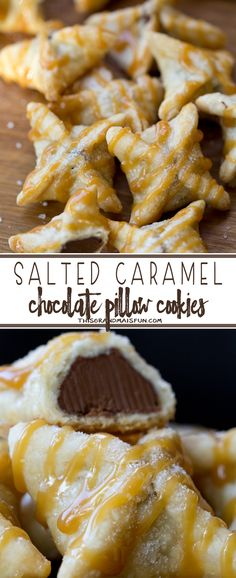 Salted Caramel Chocolate Pillows - These amazing little pillows start with a Hershey's Kiss wrapped in pie crust that is baked to perfection. Topped with caramel and a hint of Mediterranean Sea Salt. Two bites of pure heaven!