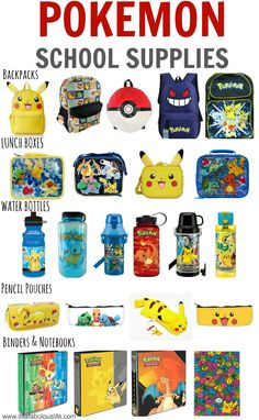 Pokemon School Supplies - LOVE this list!  I can't find any in the stores by me!! :(